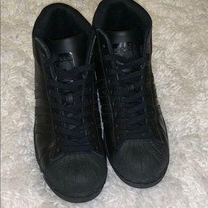 Adidas Custom all black high tops men's 6 ladies 8